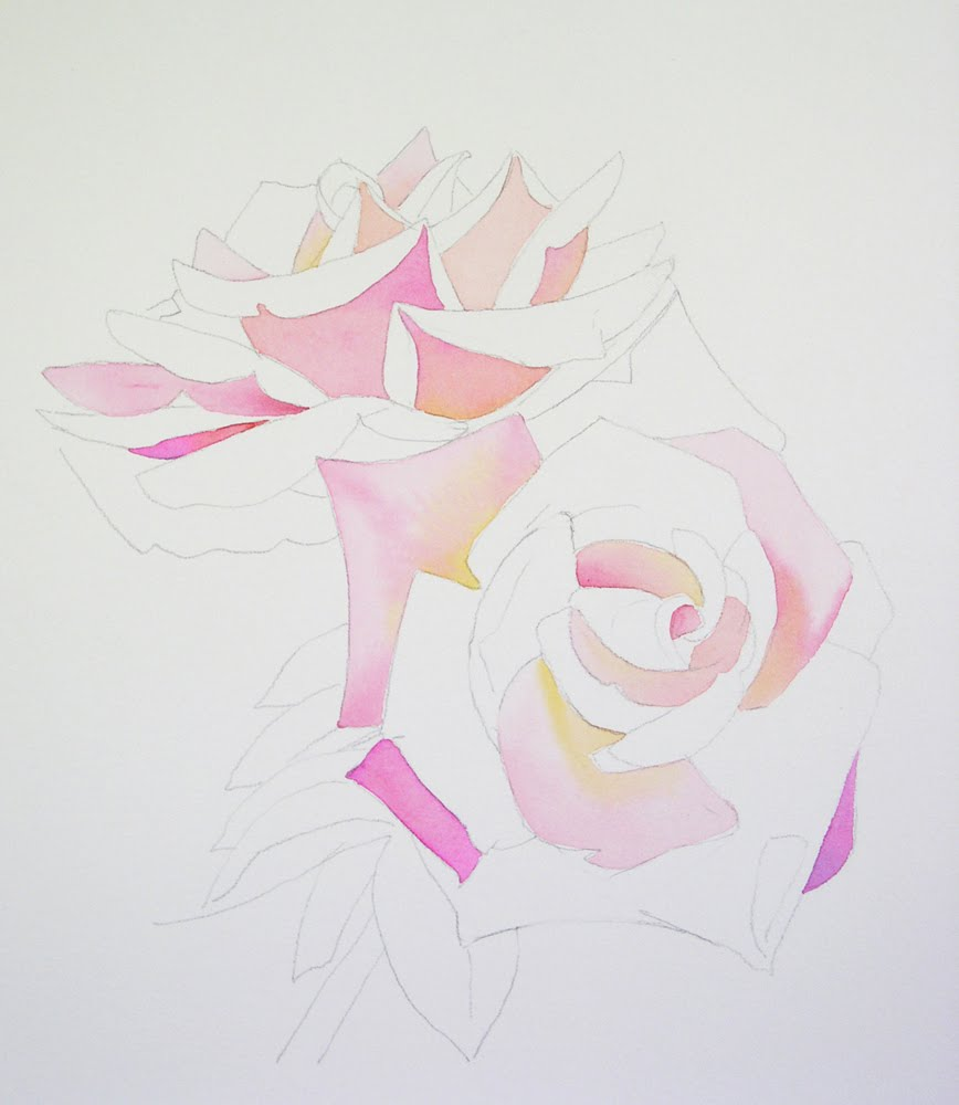 Barbara fox studio watercolor painting demonstration by for How to paint a rose step by step