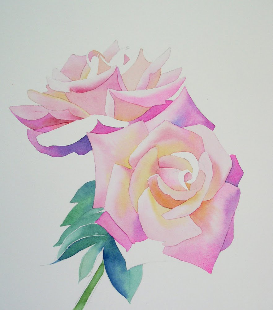 Barbara fox studio for How to paint a rose in watercolor step by step