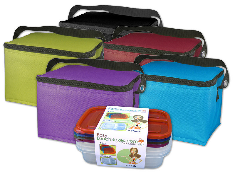 This soft-sided rectangular lunch box has a unique lid that flips up for easy access to the lunch inside.