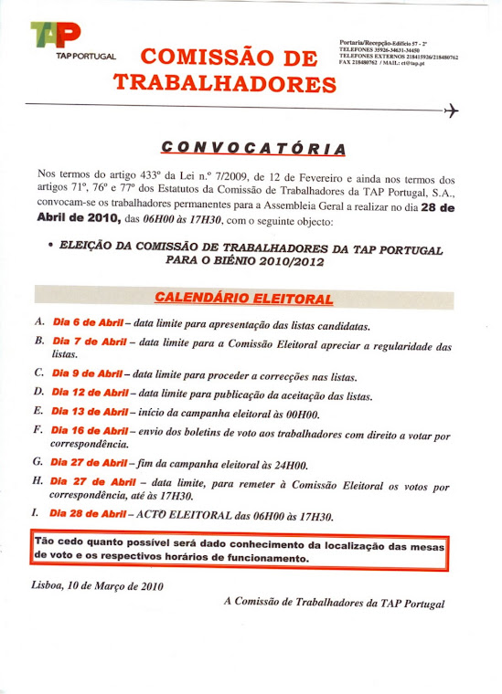 Convocatória com Calendário Eleitoral - Eleição CT dia 28ABR2010