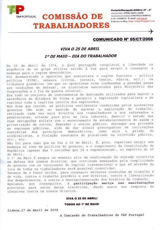 Comunicado 05/2008