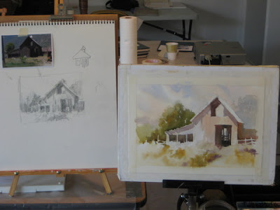 Roland Lee demonstrates painting a barn, starting with a pencil value study