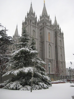 Salt Lake city LDS Temple in the snow