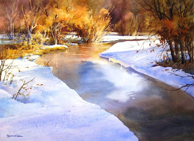 Roland lee painting of river in Utah snow