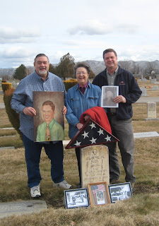 Roland Lee, Grant Lee, and Andrea Lee Conley at the gravesite of Blaine Nelson Lee Sr. in Emmett Idaho