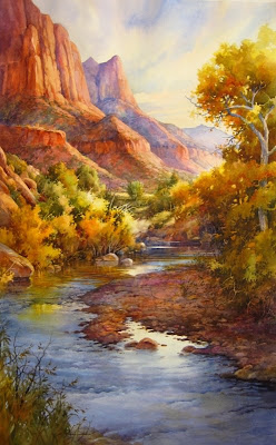 Virgin Beauty in Zion - Watercolor painting of Zion National Park by Roland Lee