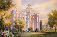 Roland Lee painting of St. George LDS Temple