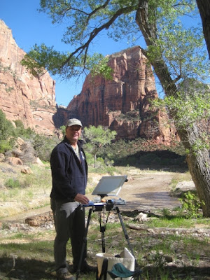Roland Lee sets up his plein air painting gear at the Footsteps of Thomas Moran Invitational Paint out n Zion National Park