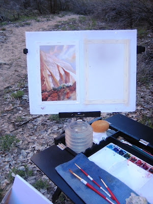 Roland Lee plein air painting in Zion