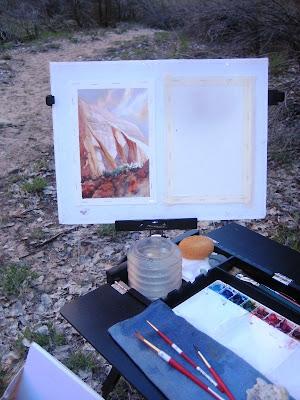 Roland Lee plein air painting in Zion