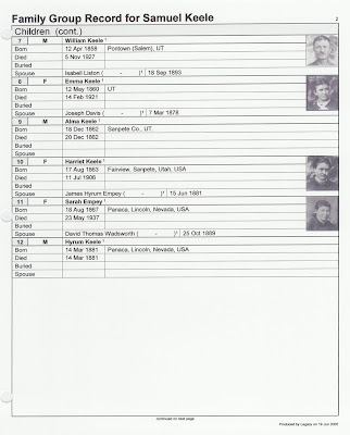Samuel Keele photo family group sheet p. 2