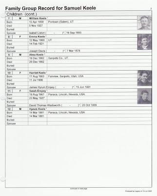 Samuel Keele photo family group sheet p. 2