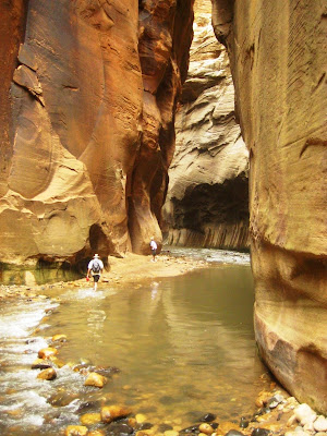Jock Whitworth hiking in Zion Narrows