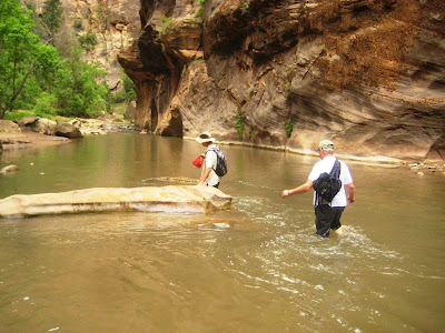 Walking in the water in the Zion Narrows