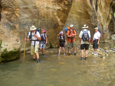 Overnight hikers in the Zion Narrows