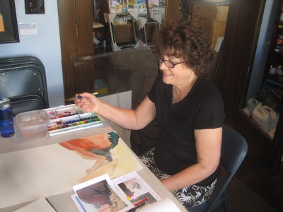 artist Catherine Jenson in Roland Lee workshop