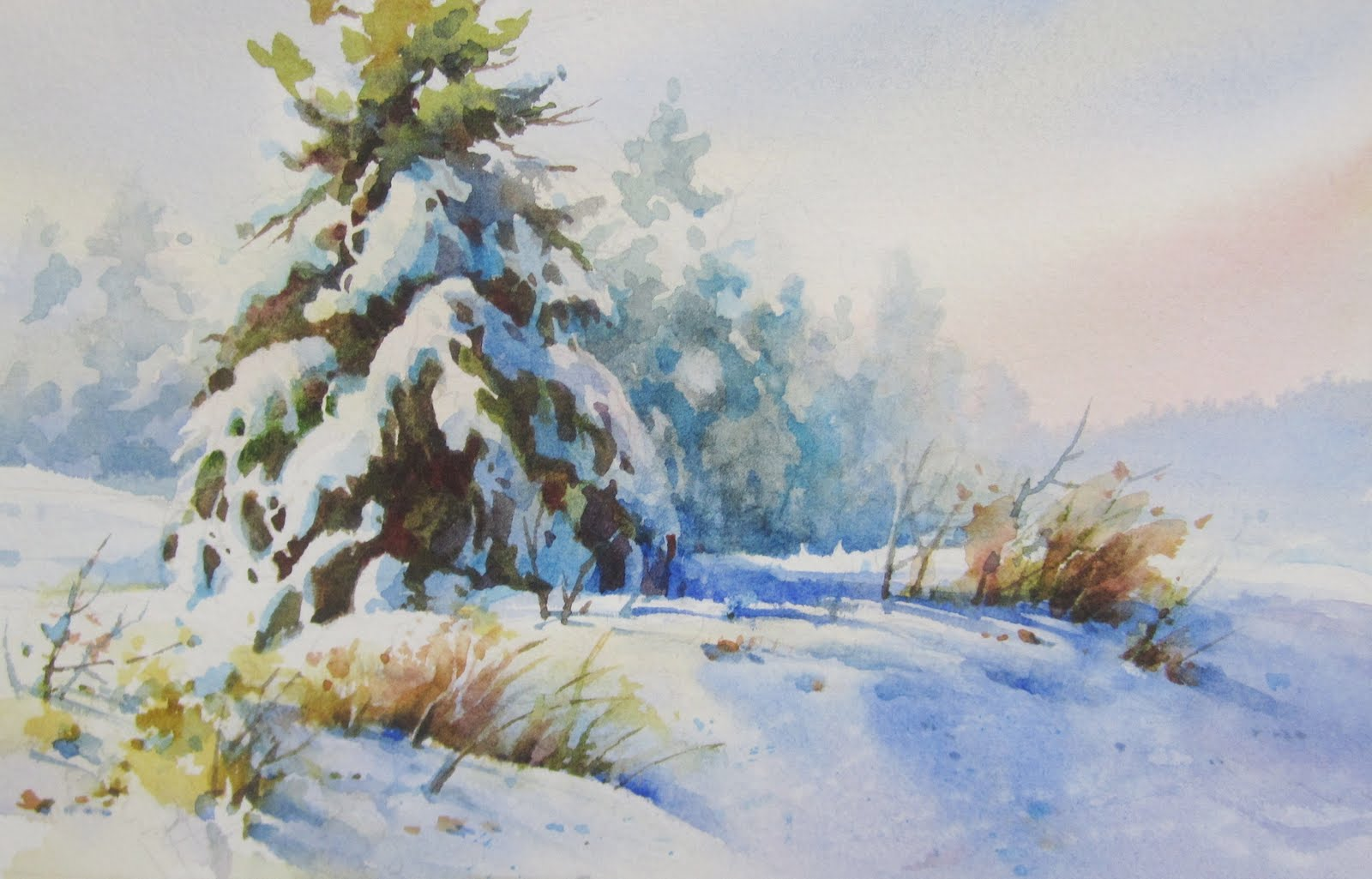 Roland Lee Travel Sketchbook Painting Winter Snow In