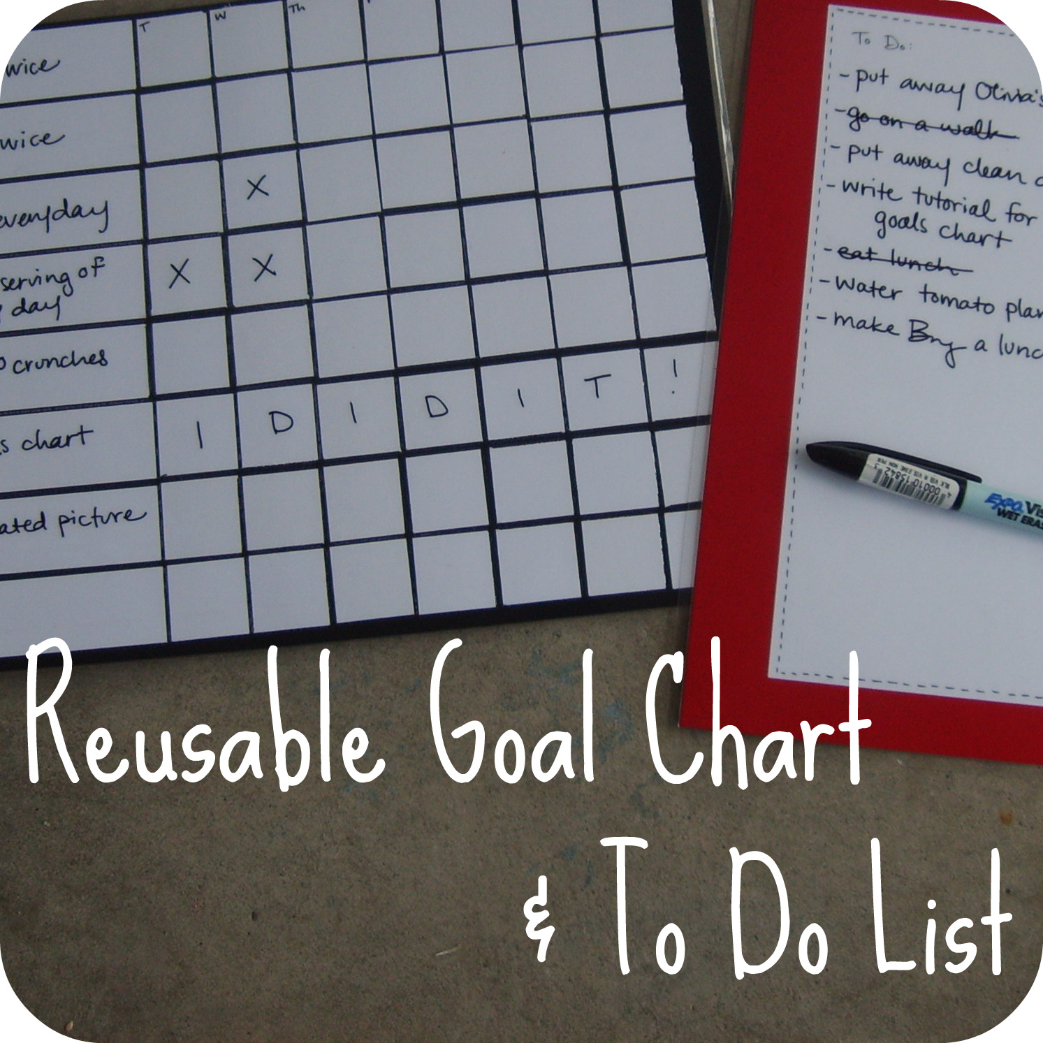 the red kitchen: Reusable Goals Chart & To Do List