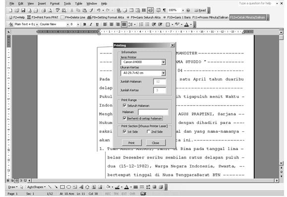 Software Notaris Cetak Akta MS Word Notaris