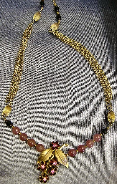 Rose Bead & Gold Chains with Grape Rhinestone Centerpiece
