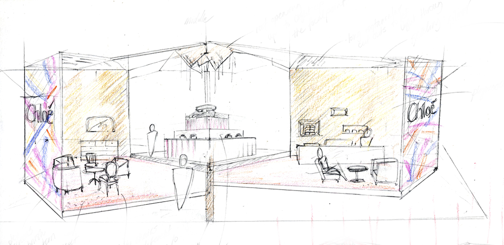 Exhibition Stall Sketch : Interior design commercial