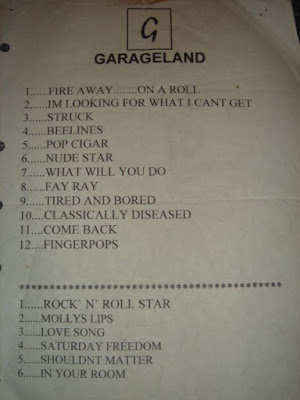 garageland concert set list