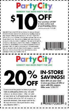 Click HERE to get a Party City Coupon for $10 off a $50 purchase