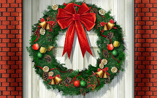 Artificial Christmas Wreath Background
