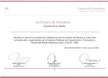 CERTIFICADO DECARATORIA DE INTERÉS -SENADO- CURSOS DE ITALIANO