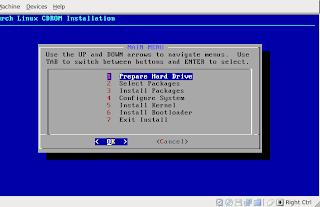 Menú de instalación de Arch Linux