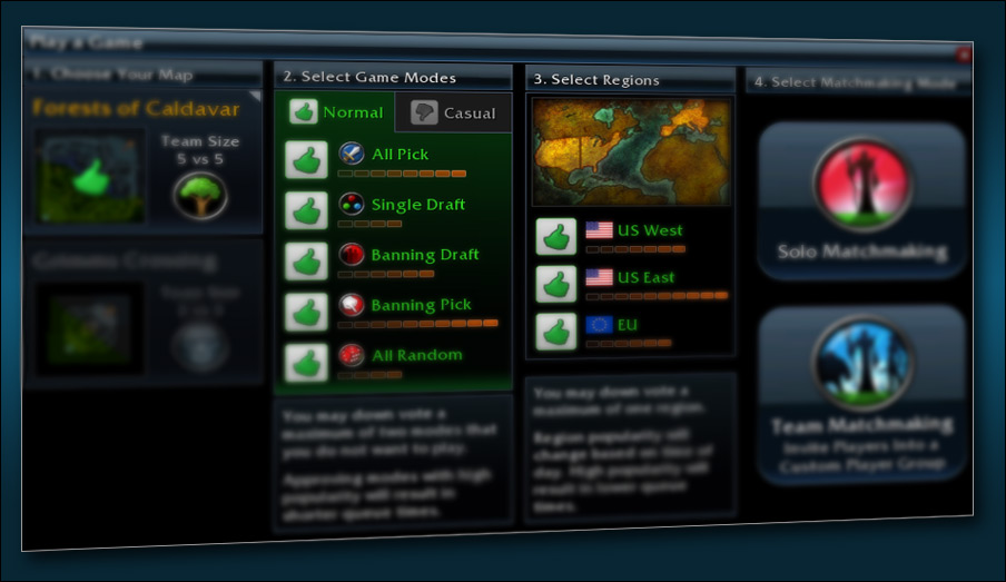 How to select matchmaking region in dota 2