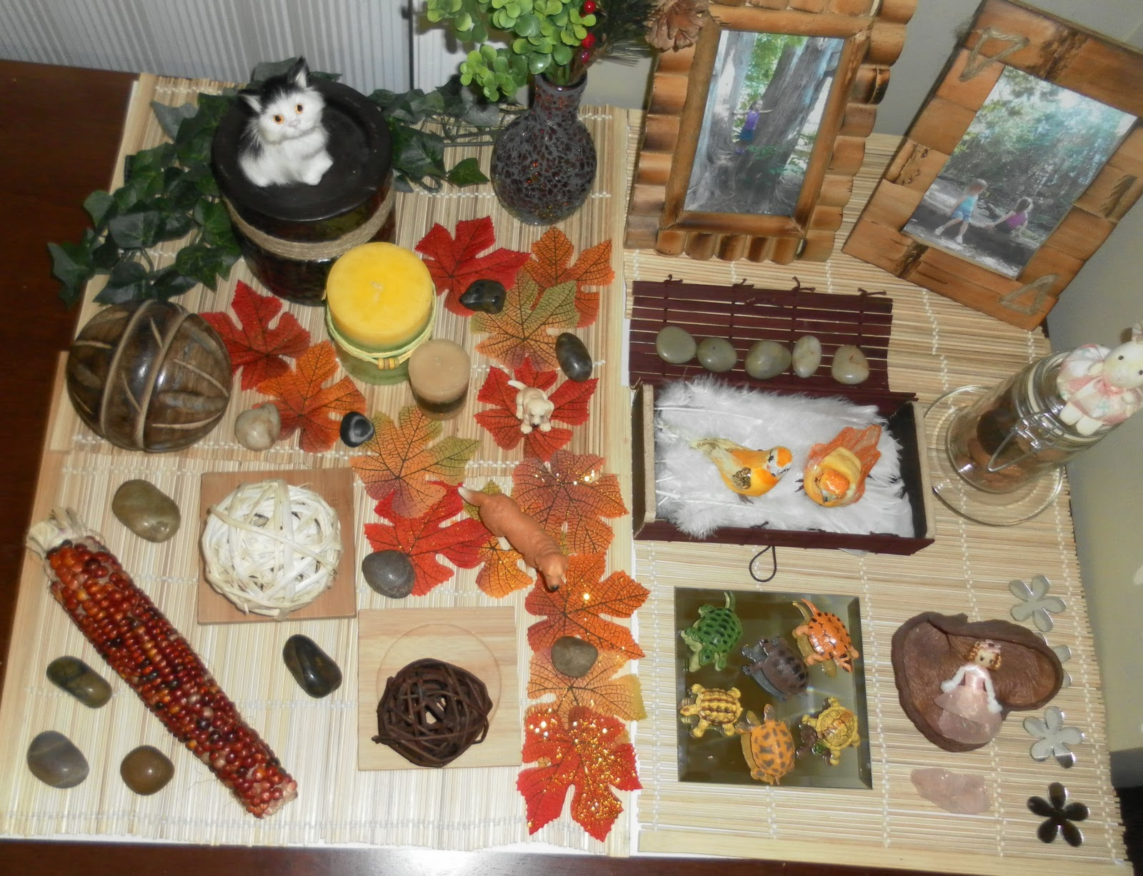 Winter nature table - The Theme For This Table Was Respect For Animals And 3 Sizes We Have Noticed Our Butterfly Being A Little Rough With The Family Dog Lately