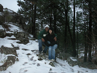 Mo and I hiking Underhill Park, post snowball fight