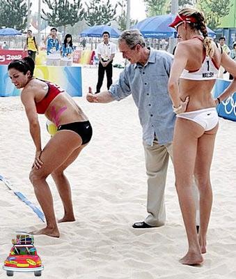 presidente bush e as jogadoras americanas dançando o creu