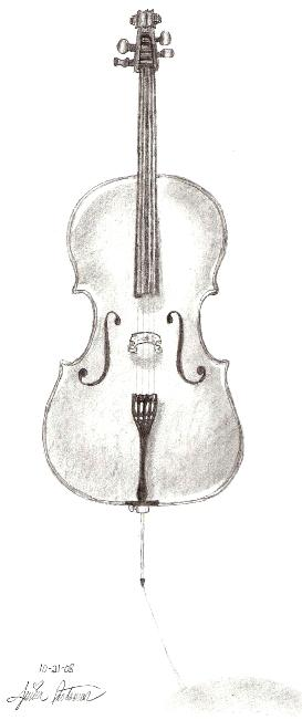 how to draw a cello bow