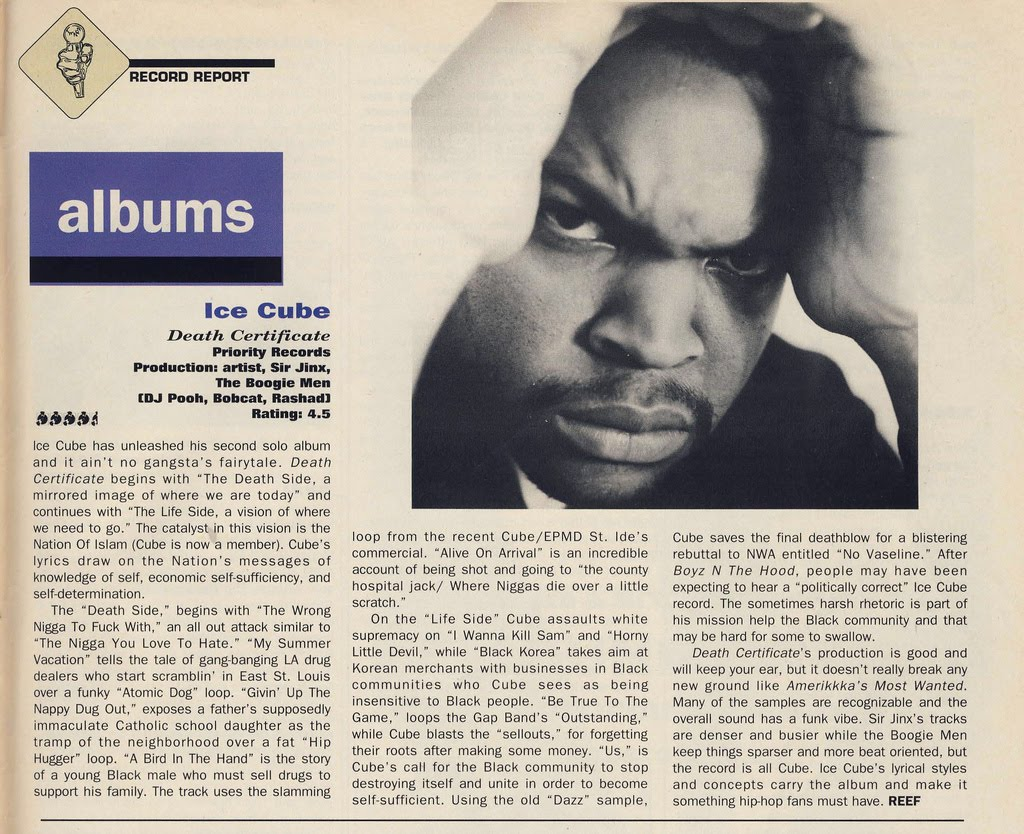 Rap research archive ice cube death certificate review the source ice cube death certificate review the source 1betcityfo Choice Image
