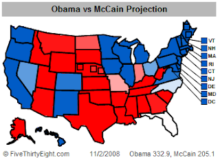 FiveThirtyEight.com Electoral Map as of 11/2/2008