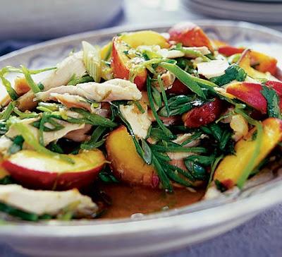 Oriental chicken & peach salad