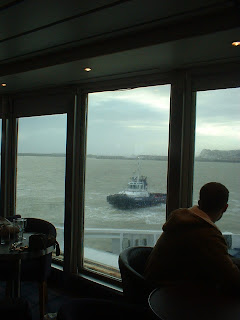 Being towed into Dover harbour