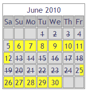 New-style booking calendar showing half-day holiday cottage availability