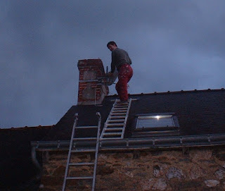 Installing the Sky Dish (in the dark)