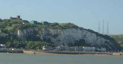 White Cliff's of Dover and Dover Castle - as seen from a cross-channel ferry