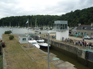 Boats waiting to leave the harbour lock