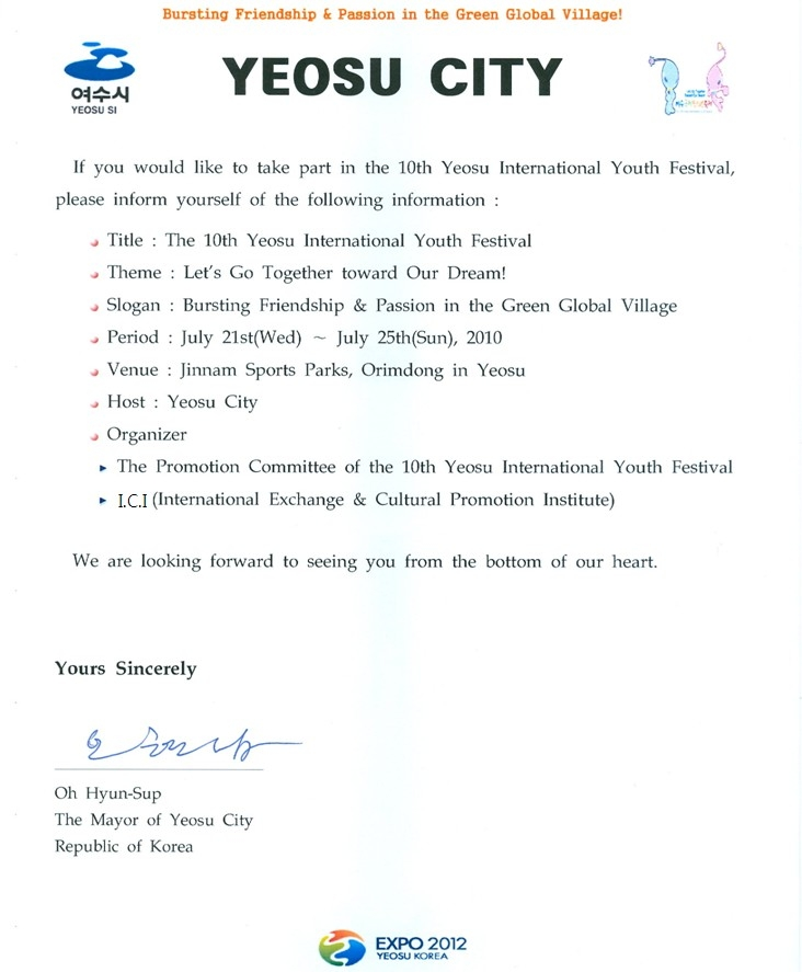 The 10th yeosu international youth festival letter from the mayor letter from the mayor of yeosu stopboris Images