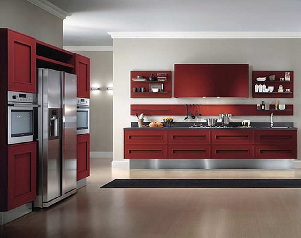 Home design and decoration plan kitchen decorate design melograno red hot cabinet color for Kitchen cabinet layout designer