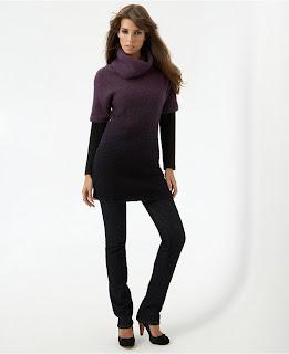 Kensie Ombré Bouclé Funnel-Neck Sweater