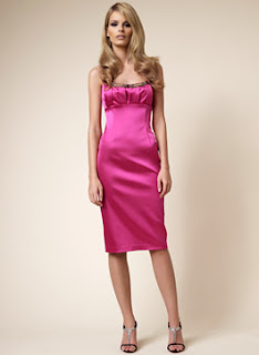 David Meister Hot Pink Stretch Satin Cocktail Dress with Bead Trim