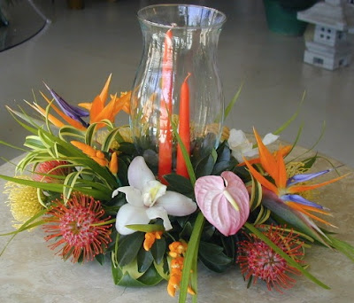 Caribbean Tropical wedding centerpiece
