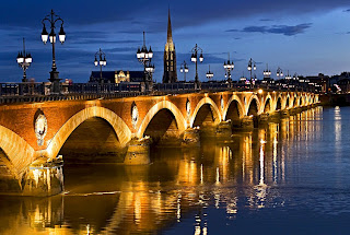 Bridge Pont de Pierre by night in Bordeaux by Nathan Bergeron