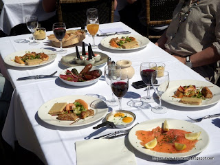Brunch with our table set on the terrace
